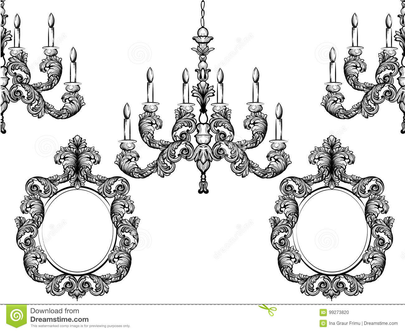Baroque chandelier and mirror frames detailed rich ornament vector baroque chandelier and mirror frames detailed rich ornament vector illustration graphic line art arubaitofo Gallery