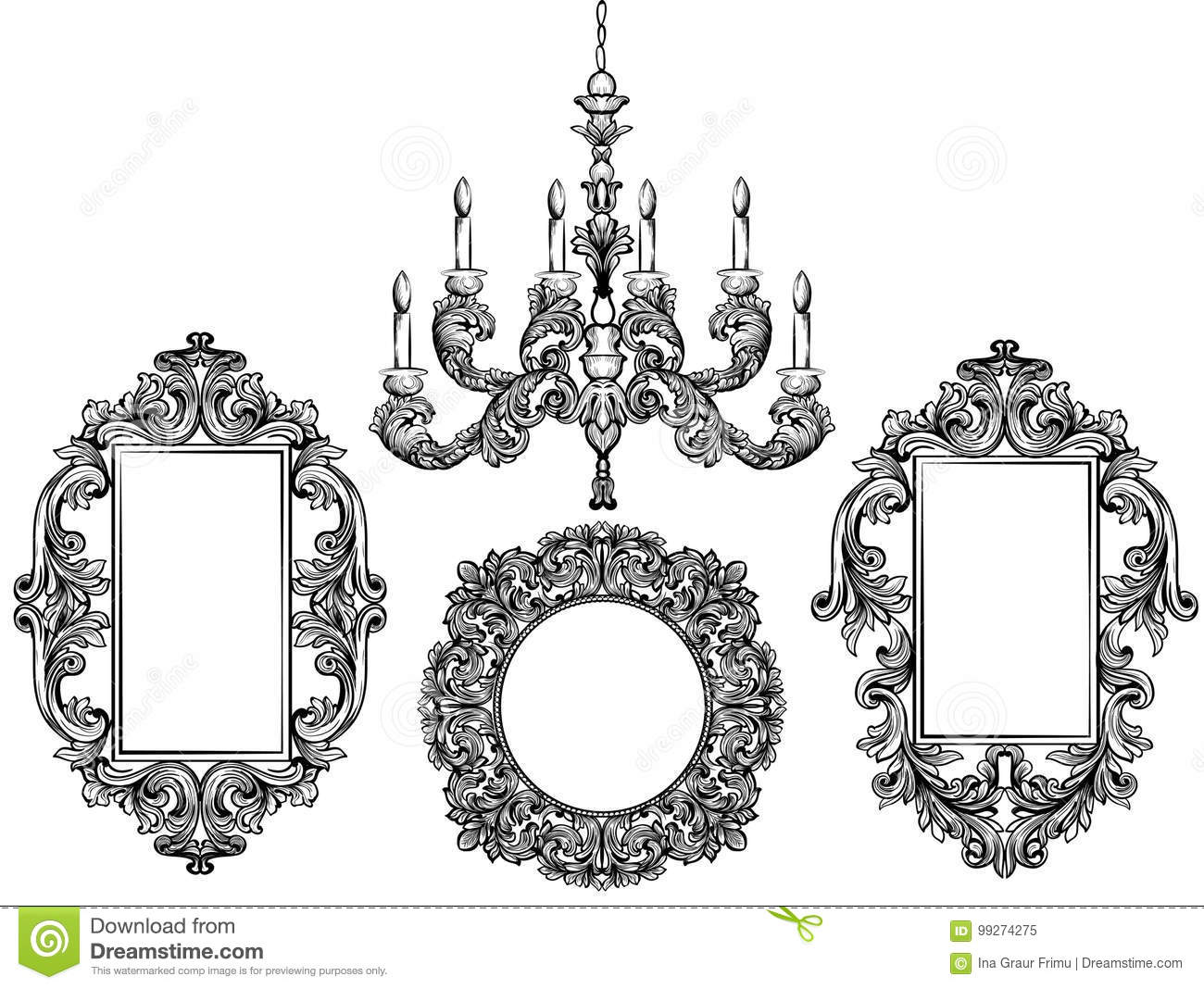 Baroque chandelier and mirror frames detailed rich ornament vector baroque chandelier and mirror frames detailed rich ornament vector illustration graphic line art background antique arubaitofo Gallery