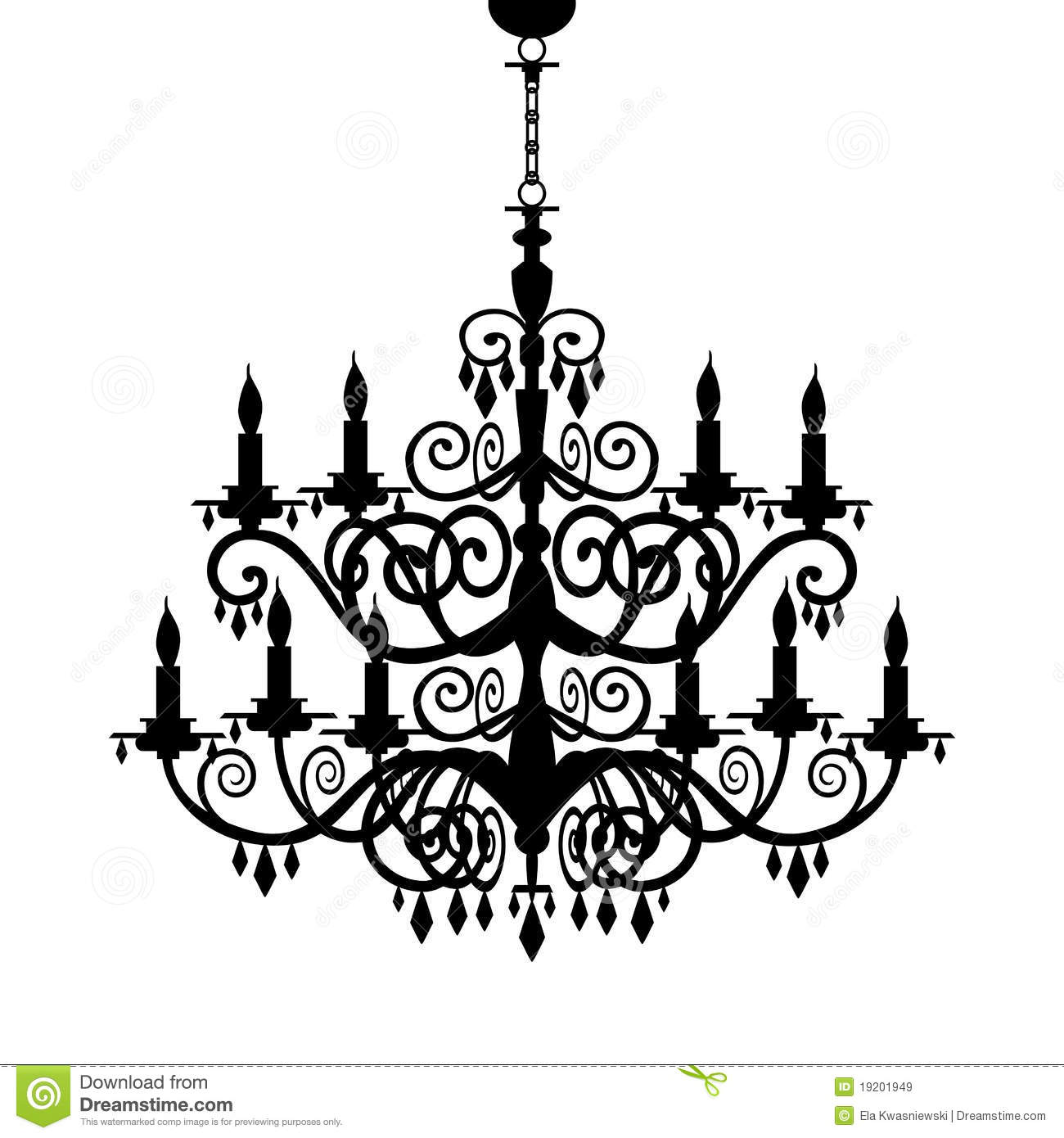 Baroque decorative chandelier silhouette isolated on white, full ...