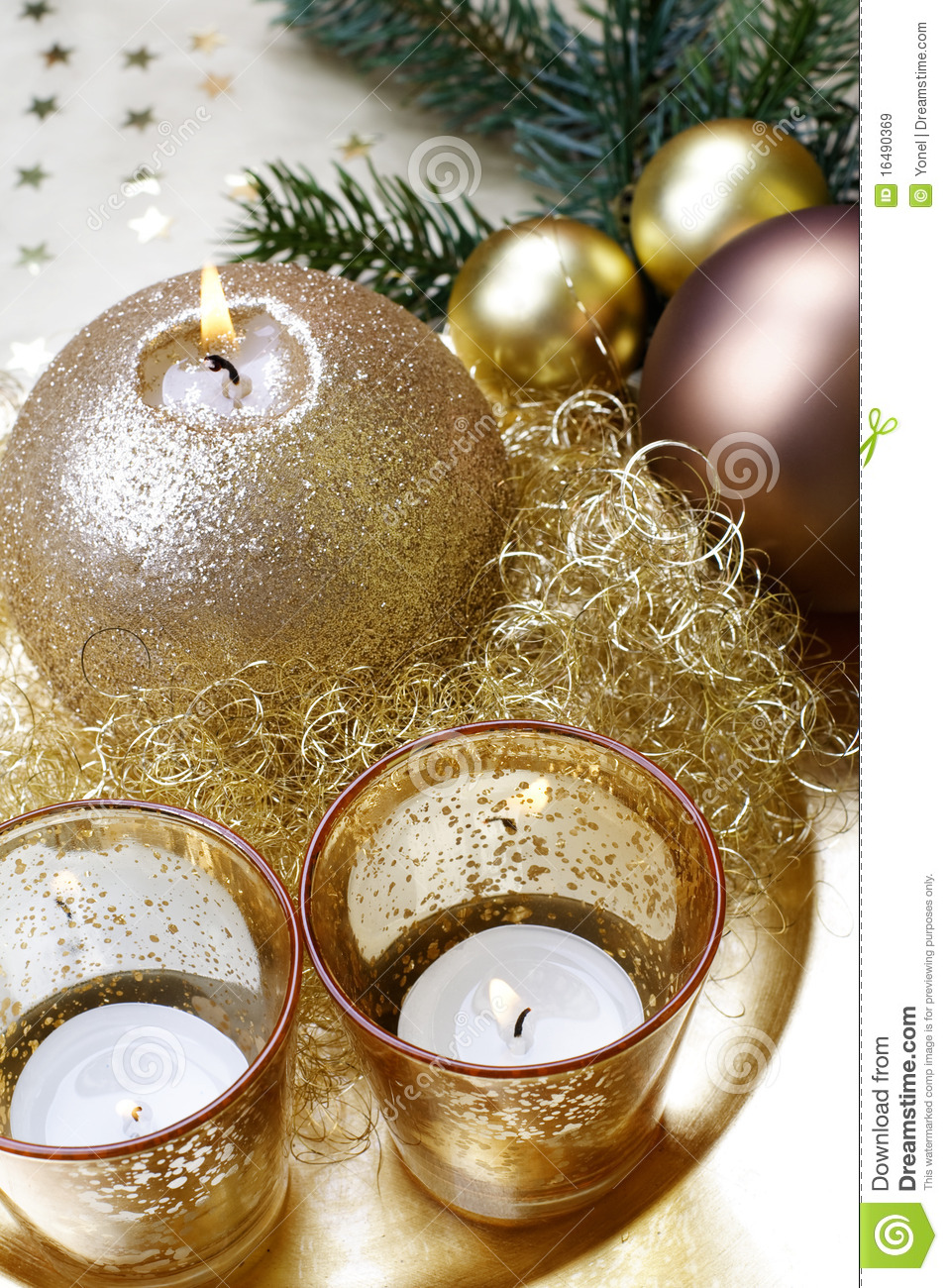 Baroque Christmas Candle, Still Life. Stock Image - Image of ball ...