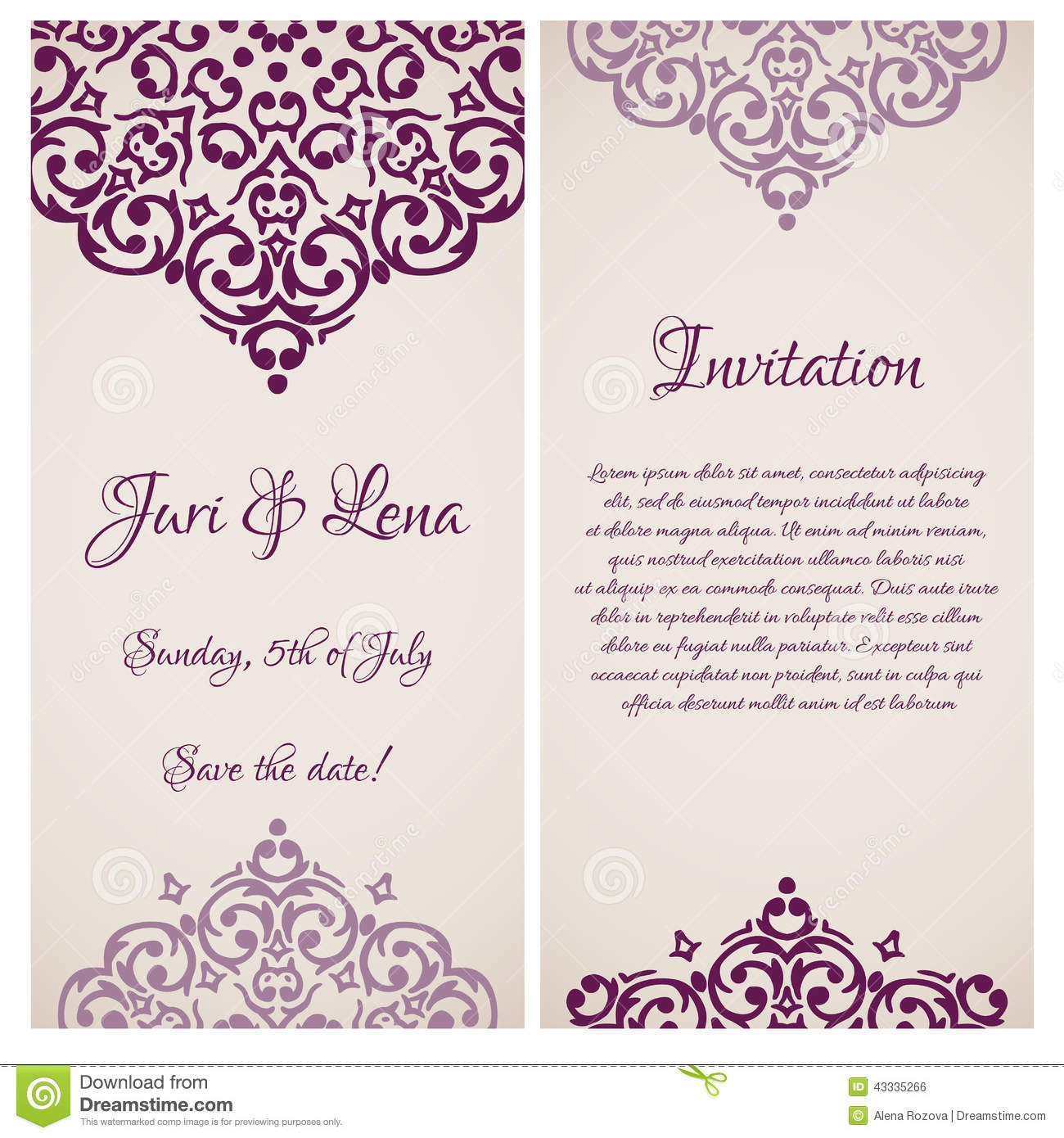 Baroque damask wedding invitation banners stock vector baroque damask wedding invitation banners royalty free vector stopboris Images