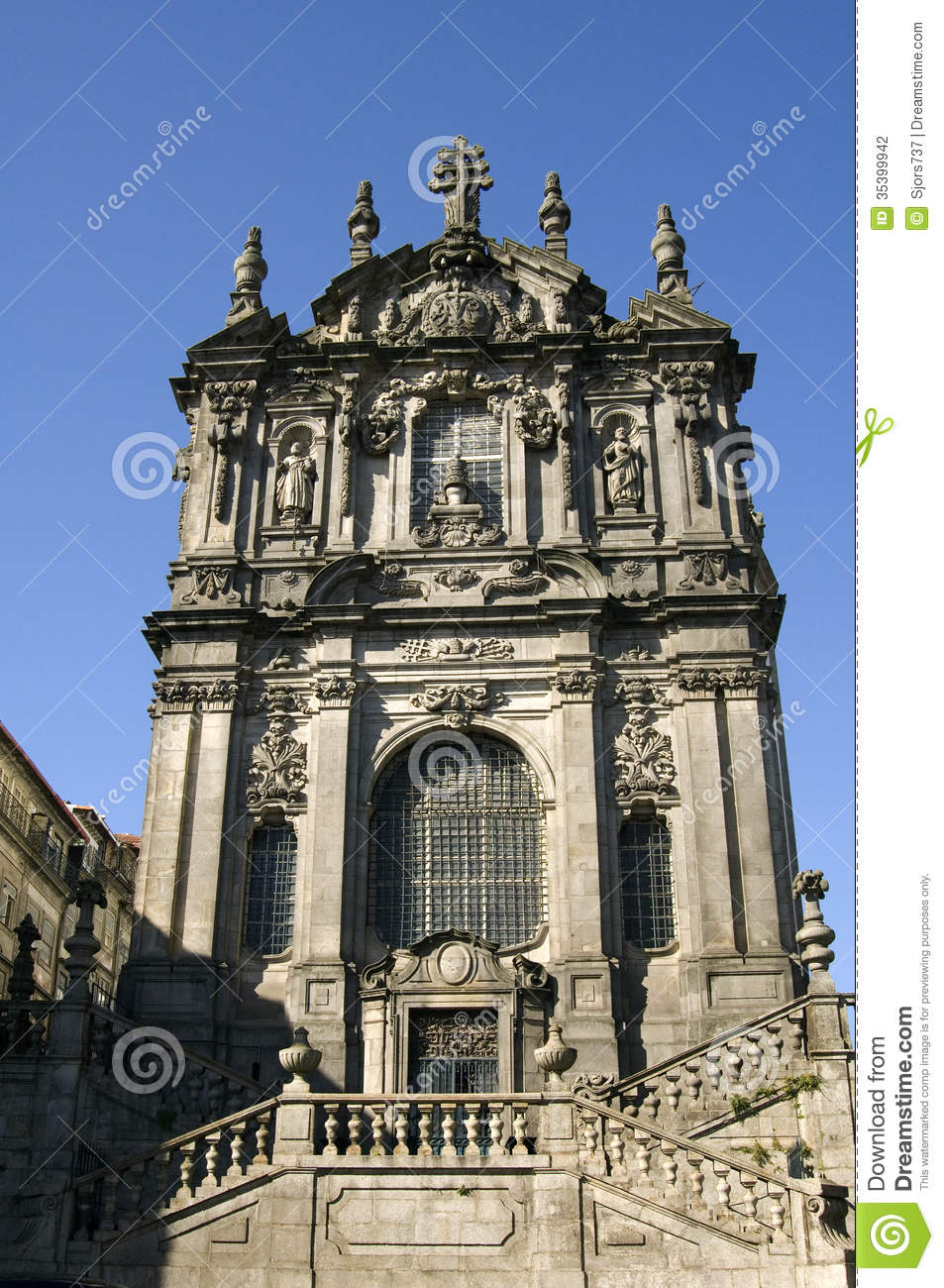 Baroque Facade Of The Clérigos Church, City Porto, Portugal Stock Photography...