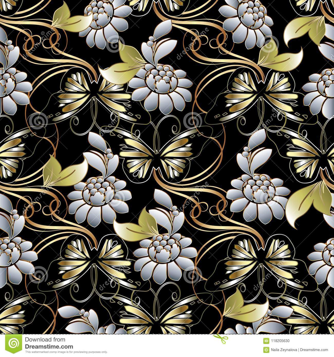 Modern Black Floral Background Wallpaper Illustration With Gold Butterflies White 3d Flowers Green Leaves And Swirl Line Art Tracery Ornament