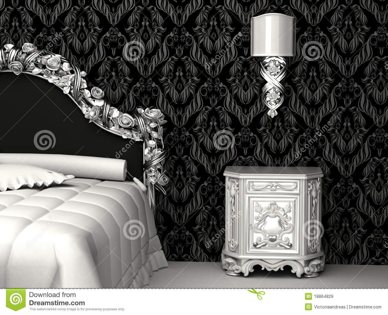 Baroque Furniture In Bedroom Royalty Free Stock Images