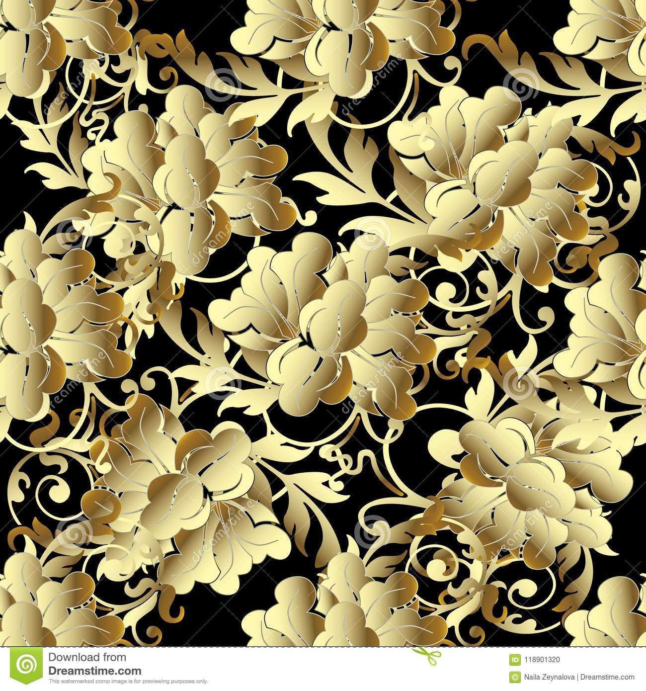 Baroque Gold 3d flowers seamless pattern.