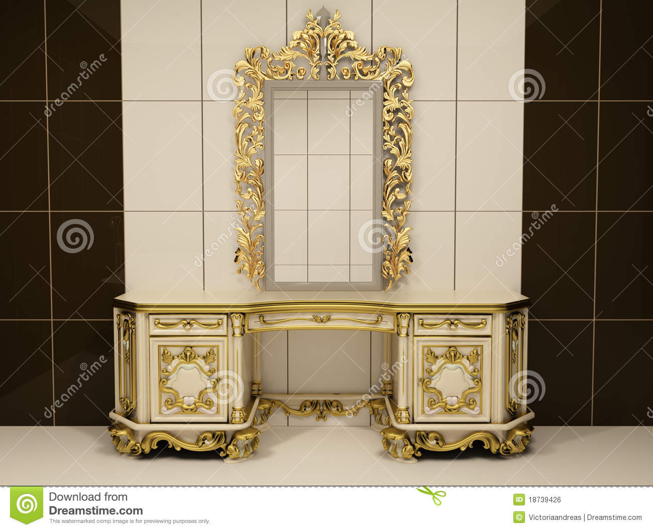 Baroque gold mirror with royal chest royalty free stock - Miroir baroque pour salle de bain ...