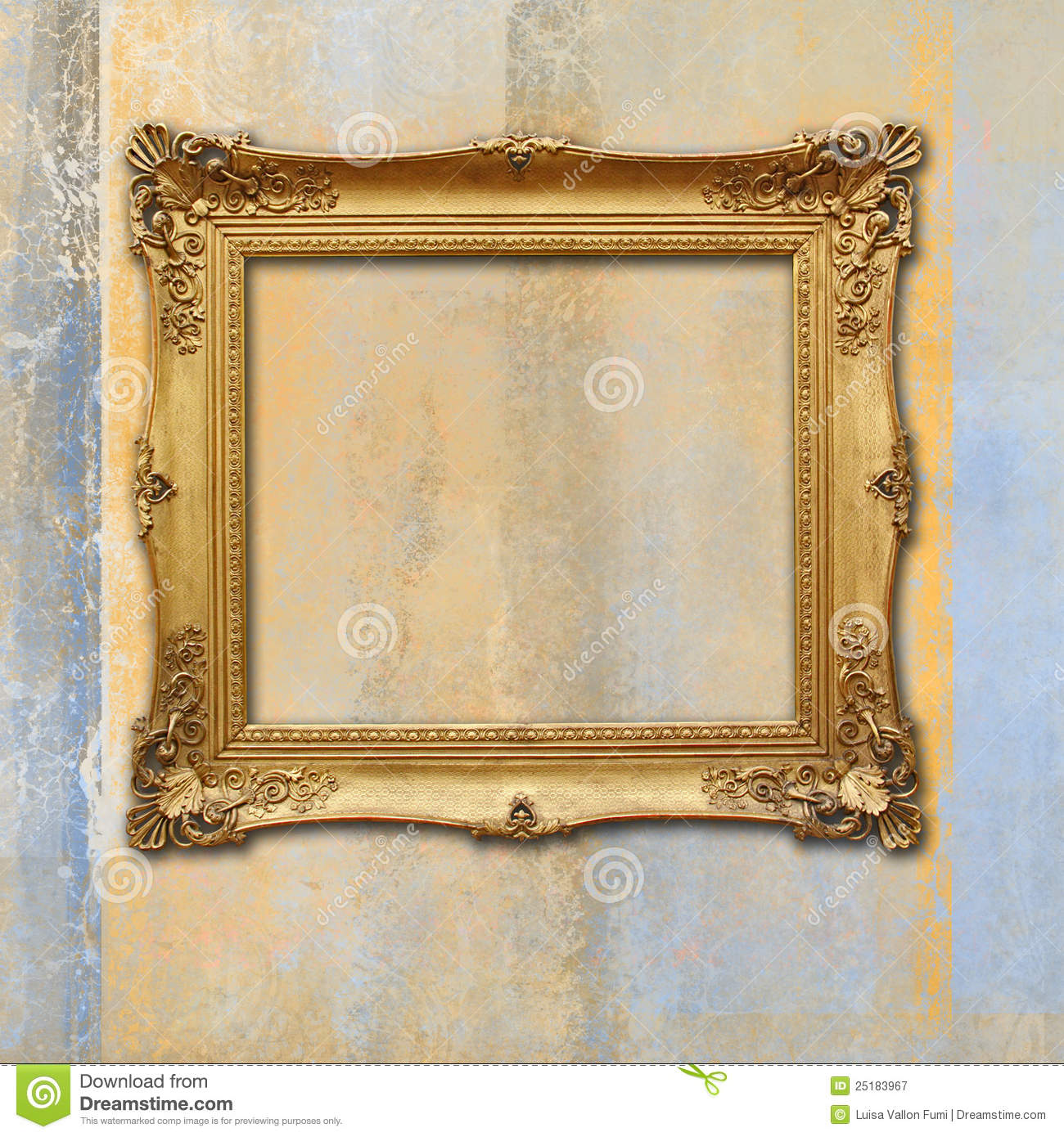 Baroque Golden Frame On A Grunge Faded Texture Stock Image - Image ...