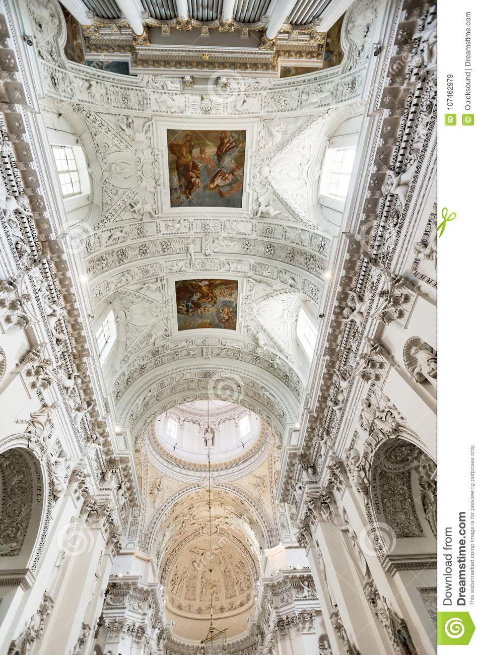 Baroque interior details and elements. Vertical view. St. Peter and St. Paul Church in Vilnius