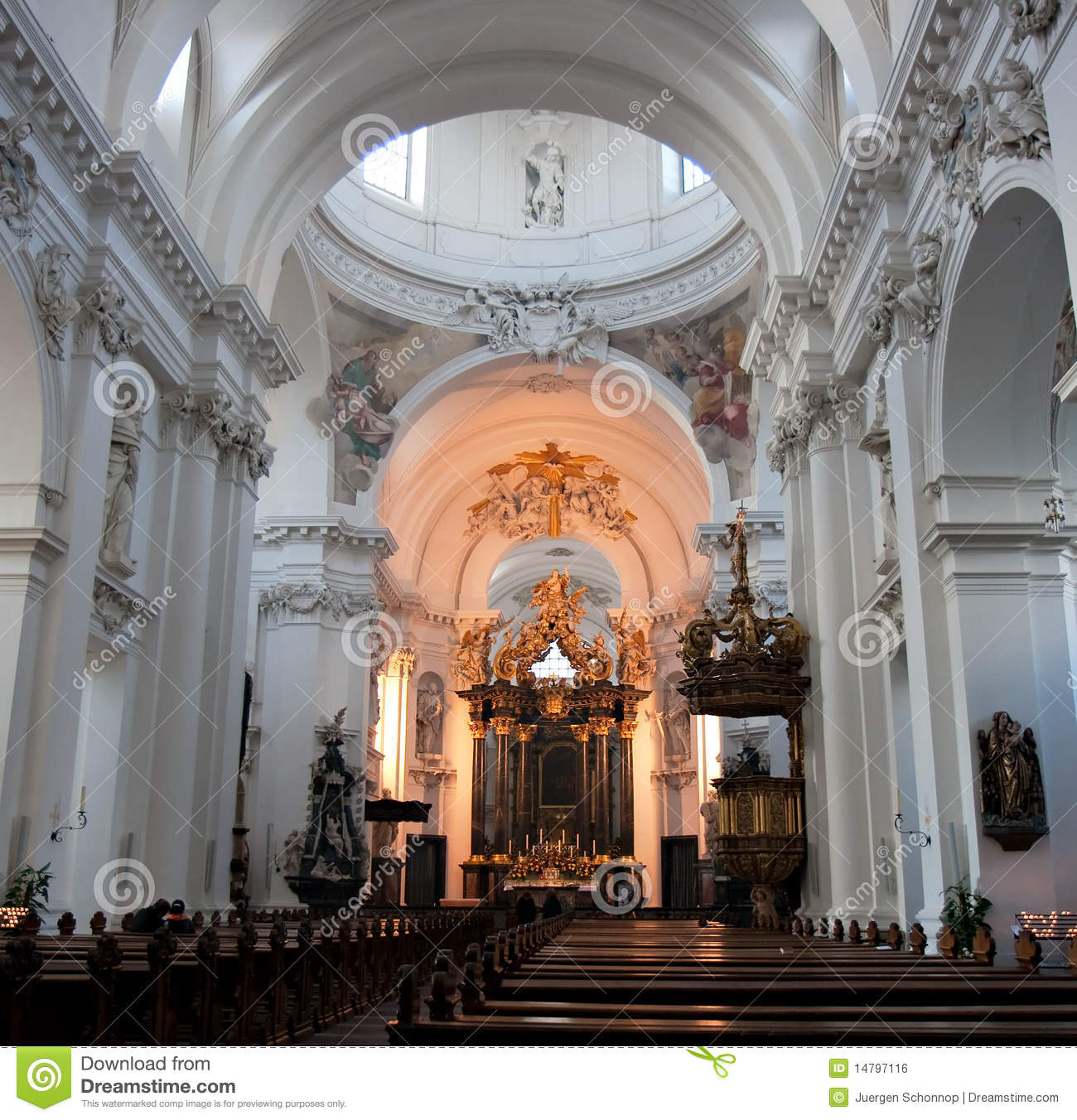 Baroque interior of basilica st salvator stock photo for Interieur baroque