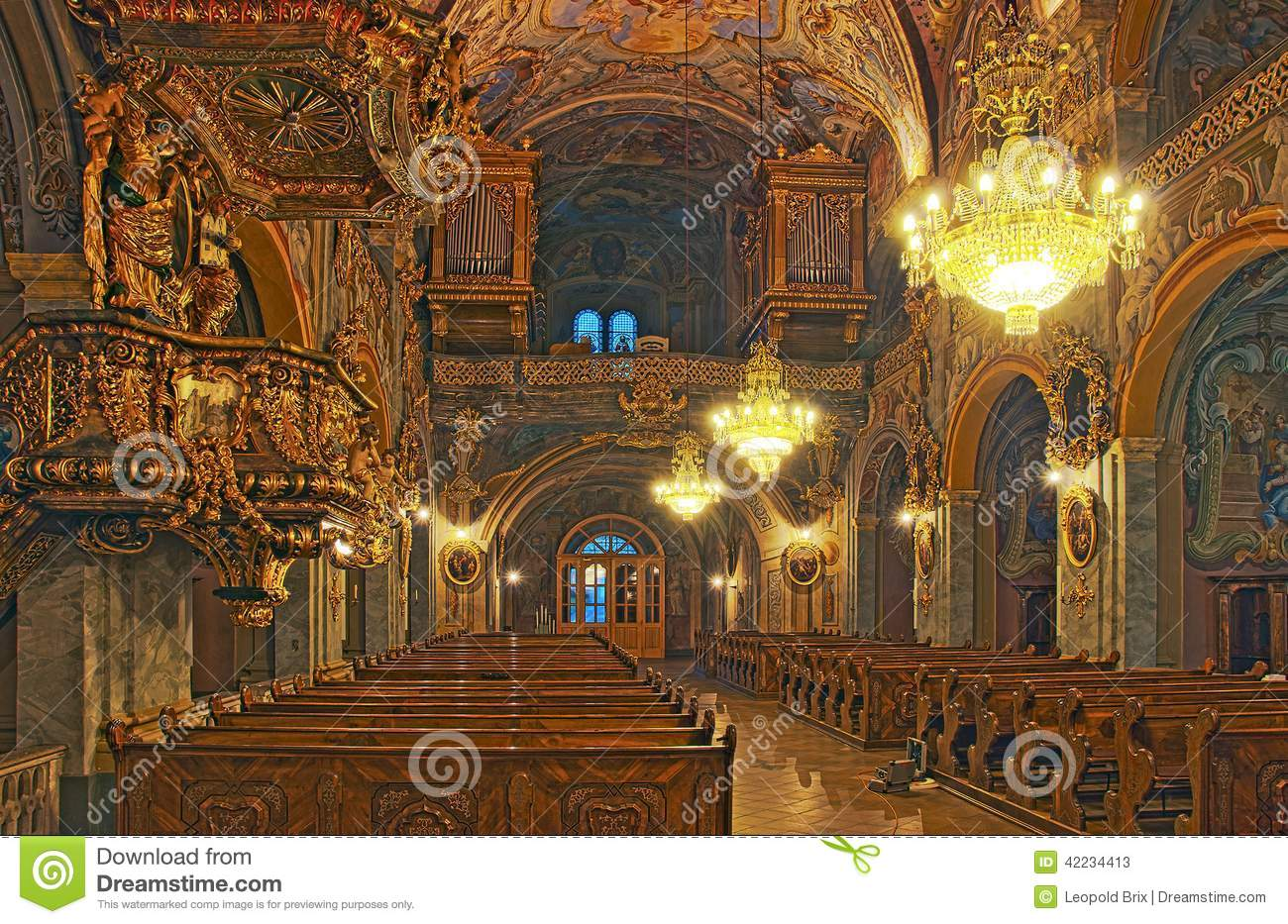 Baroque interior church of the augustinian monastery for Interieur baroque