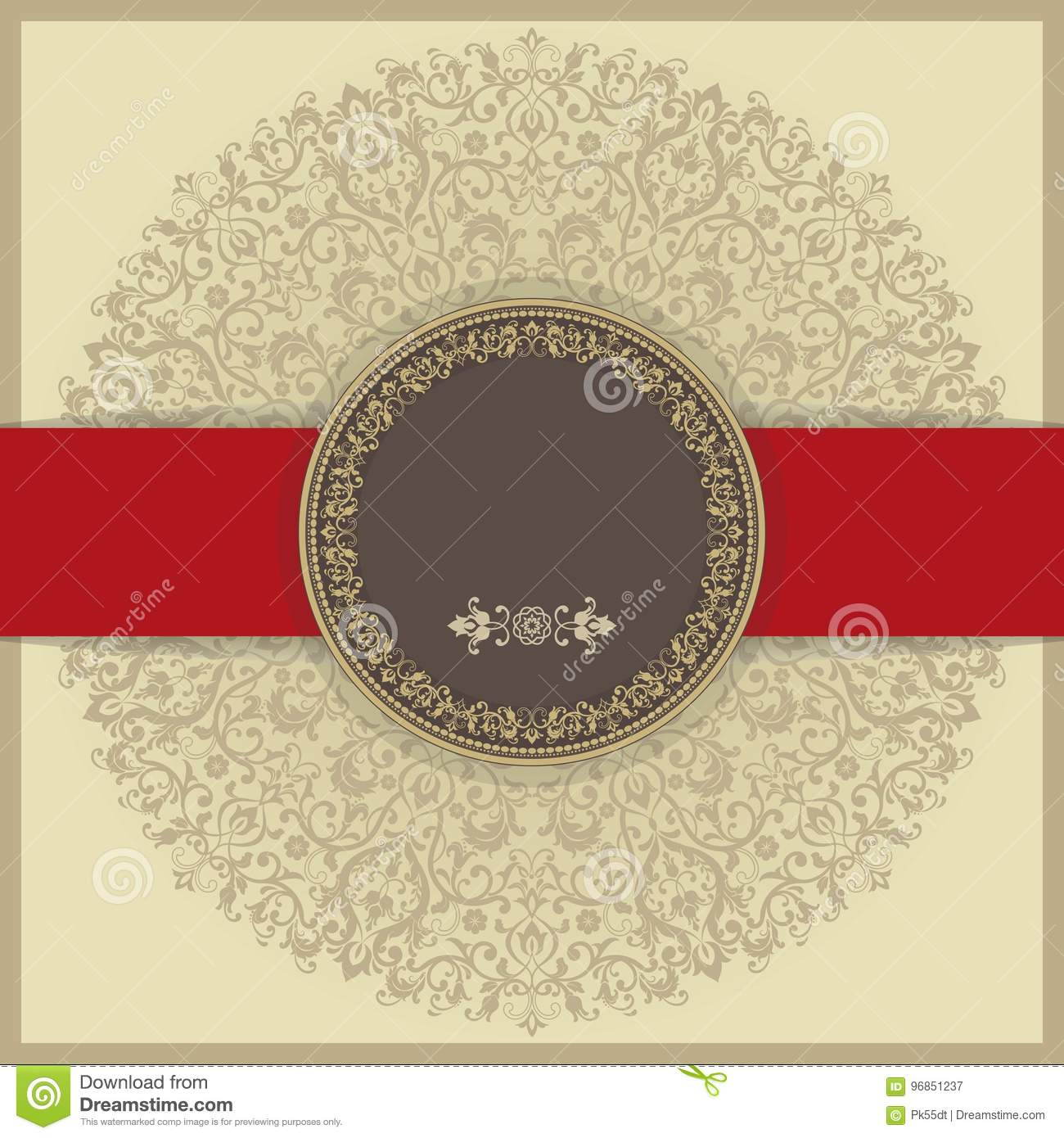 Baroque Invitation Card In Old-fashioned Style, Gold Background And ...