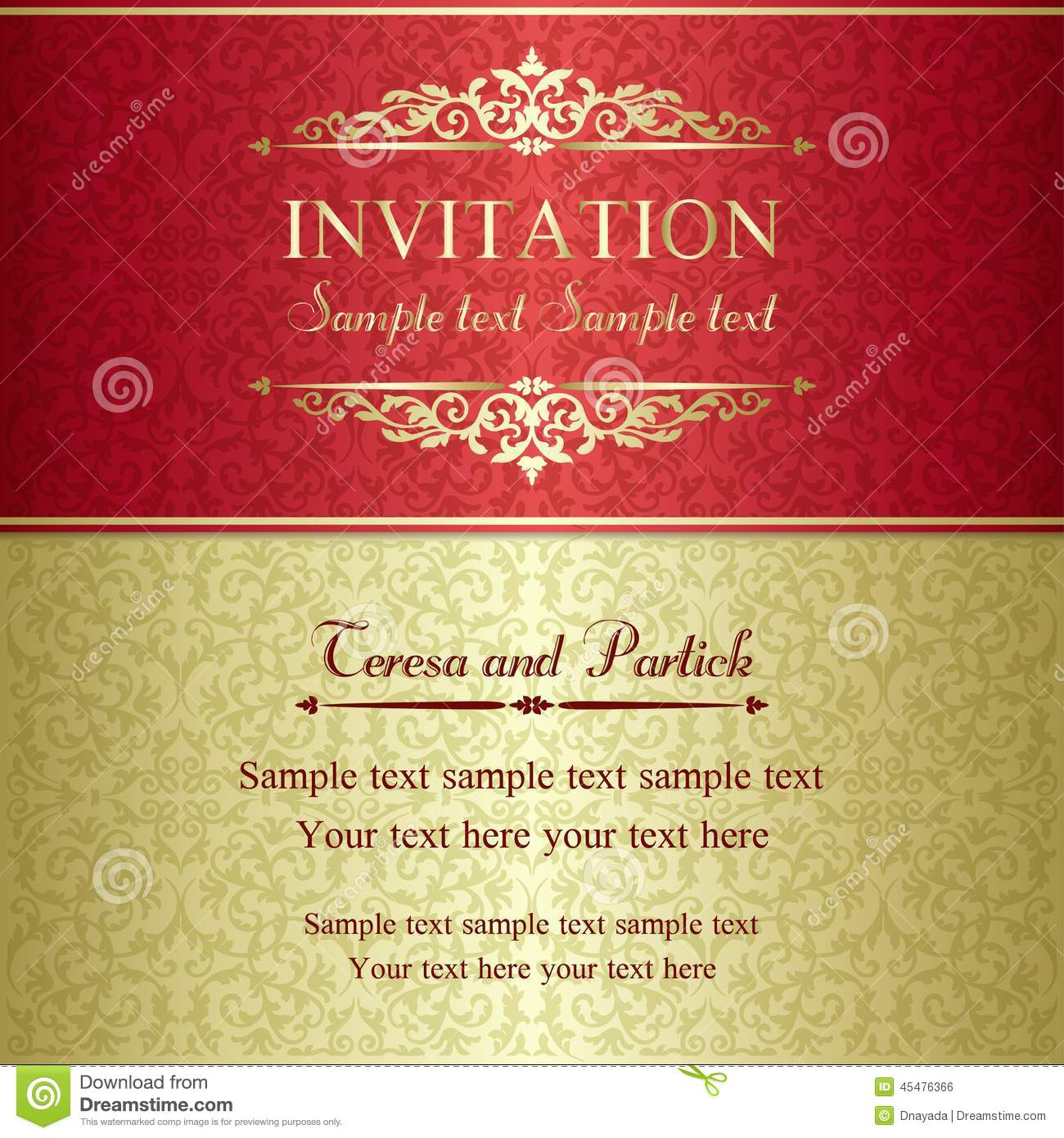Baroque invitation gold and red stock vector illustration of baroque invitation gold and red stopboris Gallery