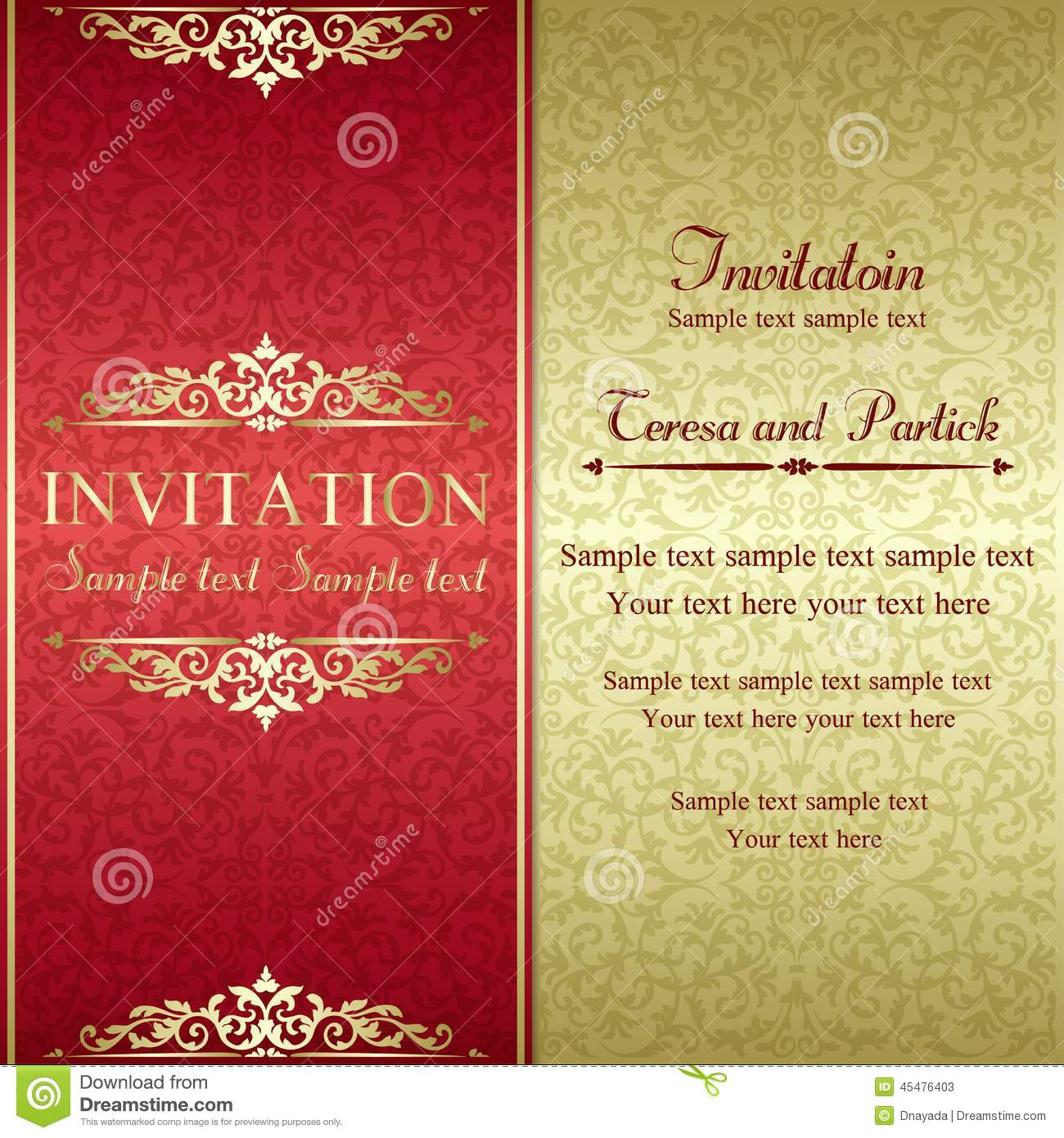 red and gold invitation templates