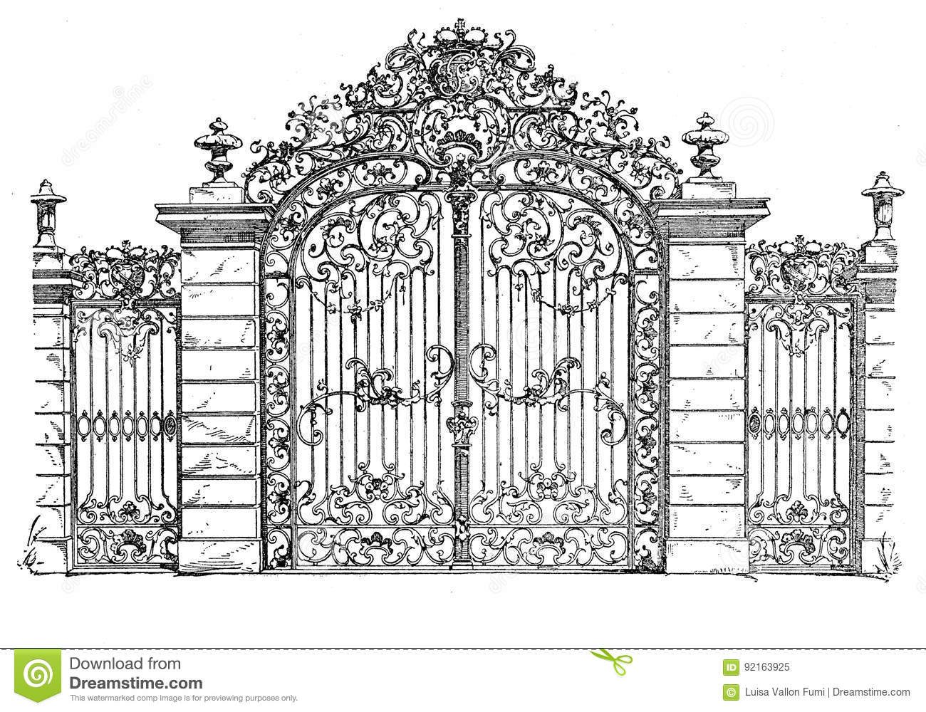 Cast Iron Home Decor Baroque Iron Gate Karlsruhe Germany Vintage Engraving