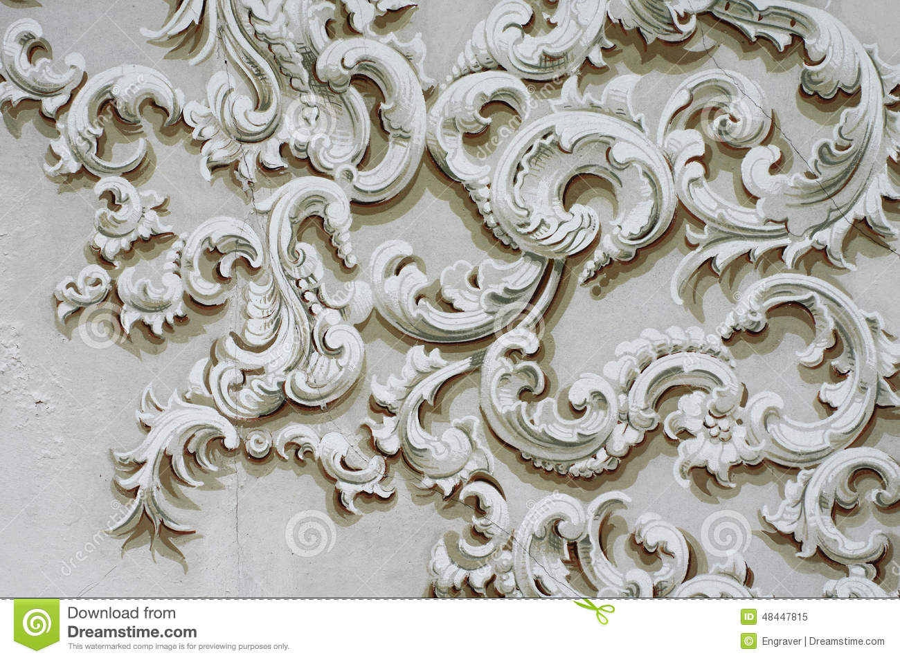 Baroque Ornament Detail Decoration Wall Stock Photo - Image: 48447815