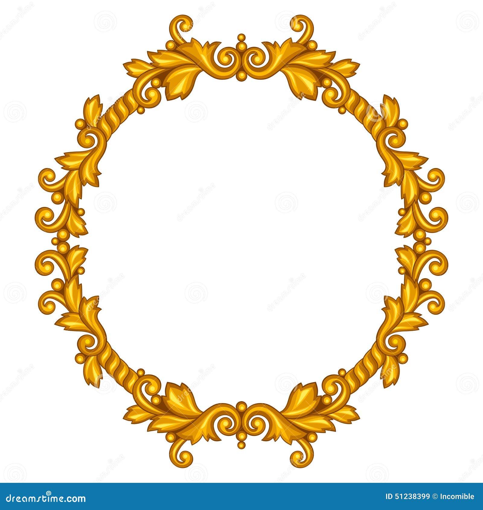 baroque ornamental antique gold frame on white stock vector