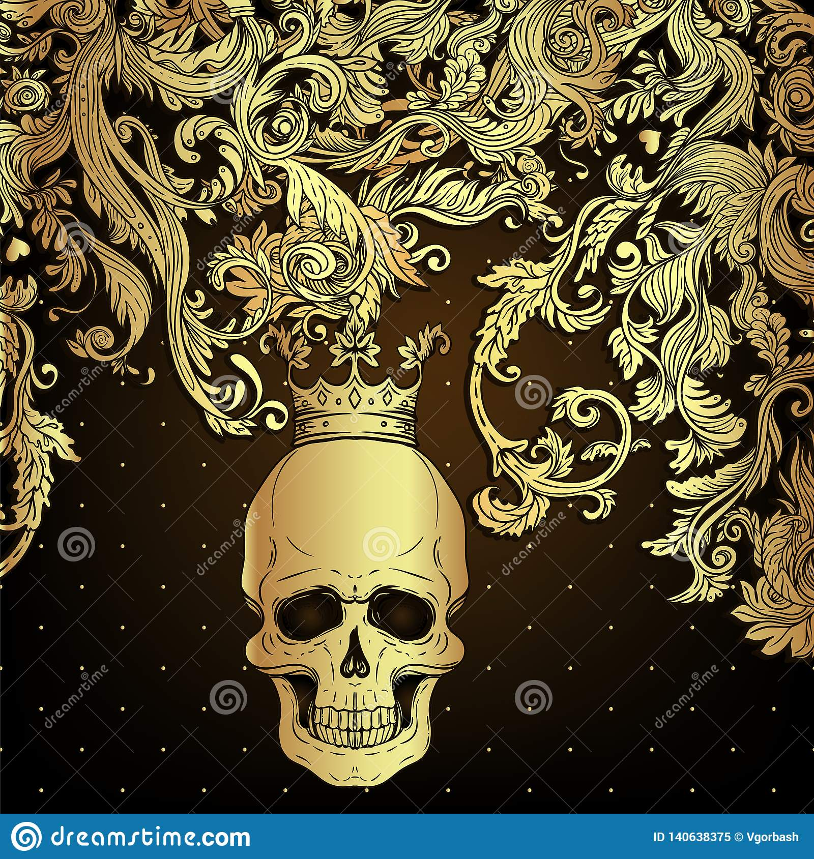 Baroque Ornamental Frame Damask Style Pattern With Skull