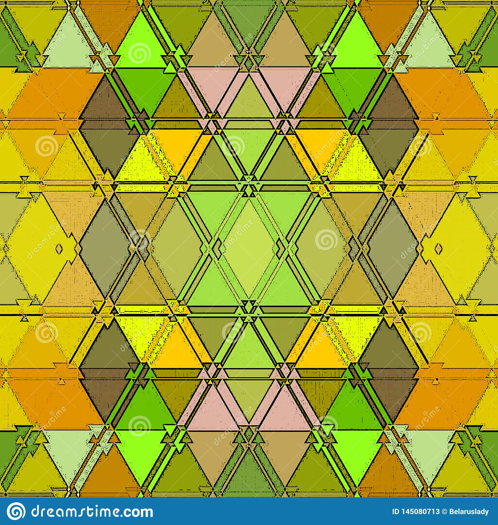 Baroque pattern of continuous triangles texture in yellow and green. Colorful mosaic background