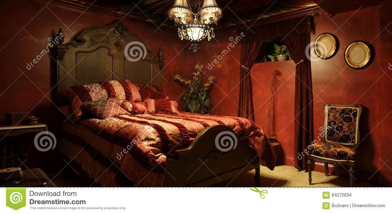 Baroque Red Bedroom Stock Photo Image Of Curtains Walls 64272634