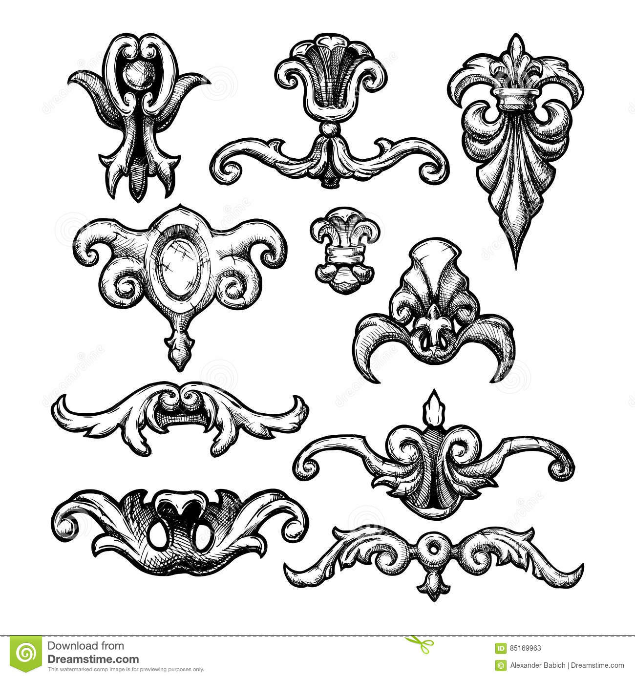 Baroque and renaissance decorative design elements stock for Baroque design elements