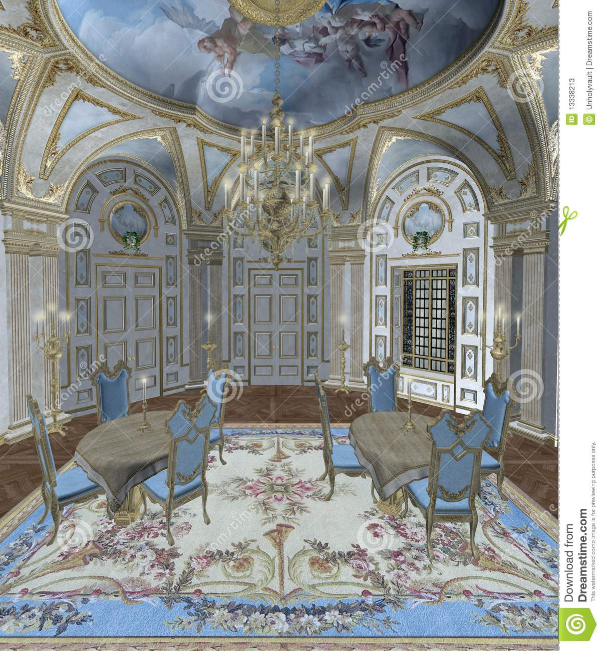 baroque room 1 stock illustration image of window fantasy 13338213. Black Bedroom Furniture Sets. Home Design Ideas