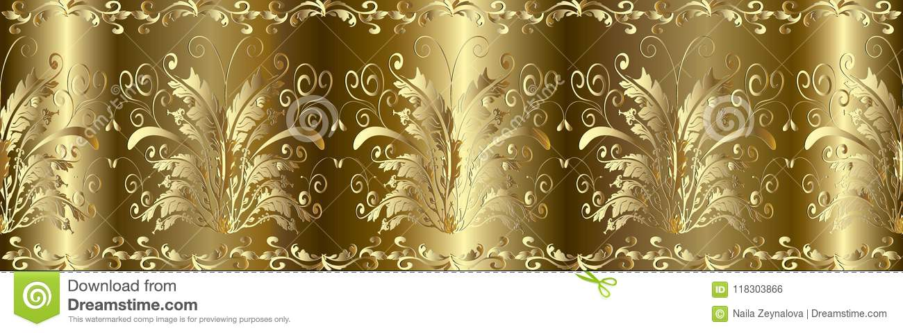 Gold 3d Baroque Seamless Border Pattern. Stock Vector