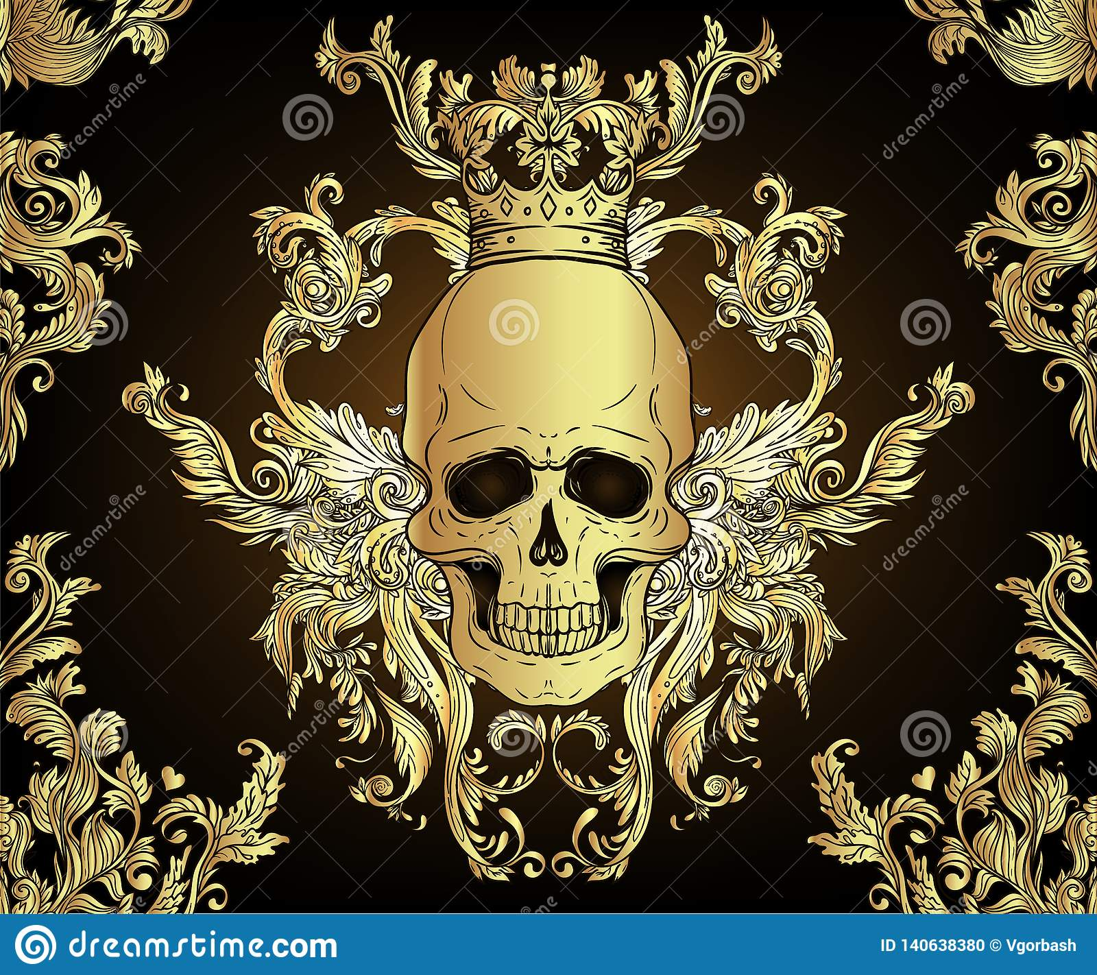 Baroque Seamless Ornament Damask Style Pattern With Skull