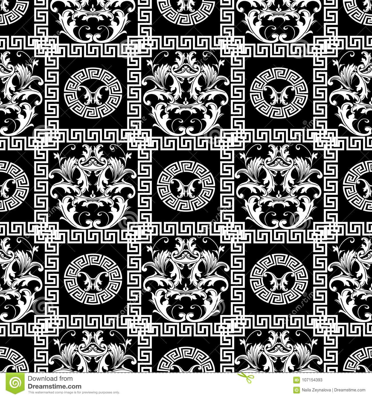 Baroque Seamless Pattern Floral Black Background Wallpaper With
