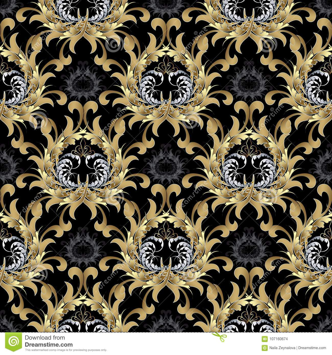 Antique Scroll Patterns: Baroque Seamless Pattern. Gold Baroque Wallpaper. Floral
