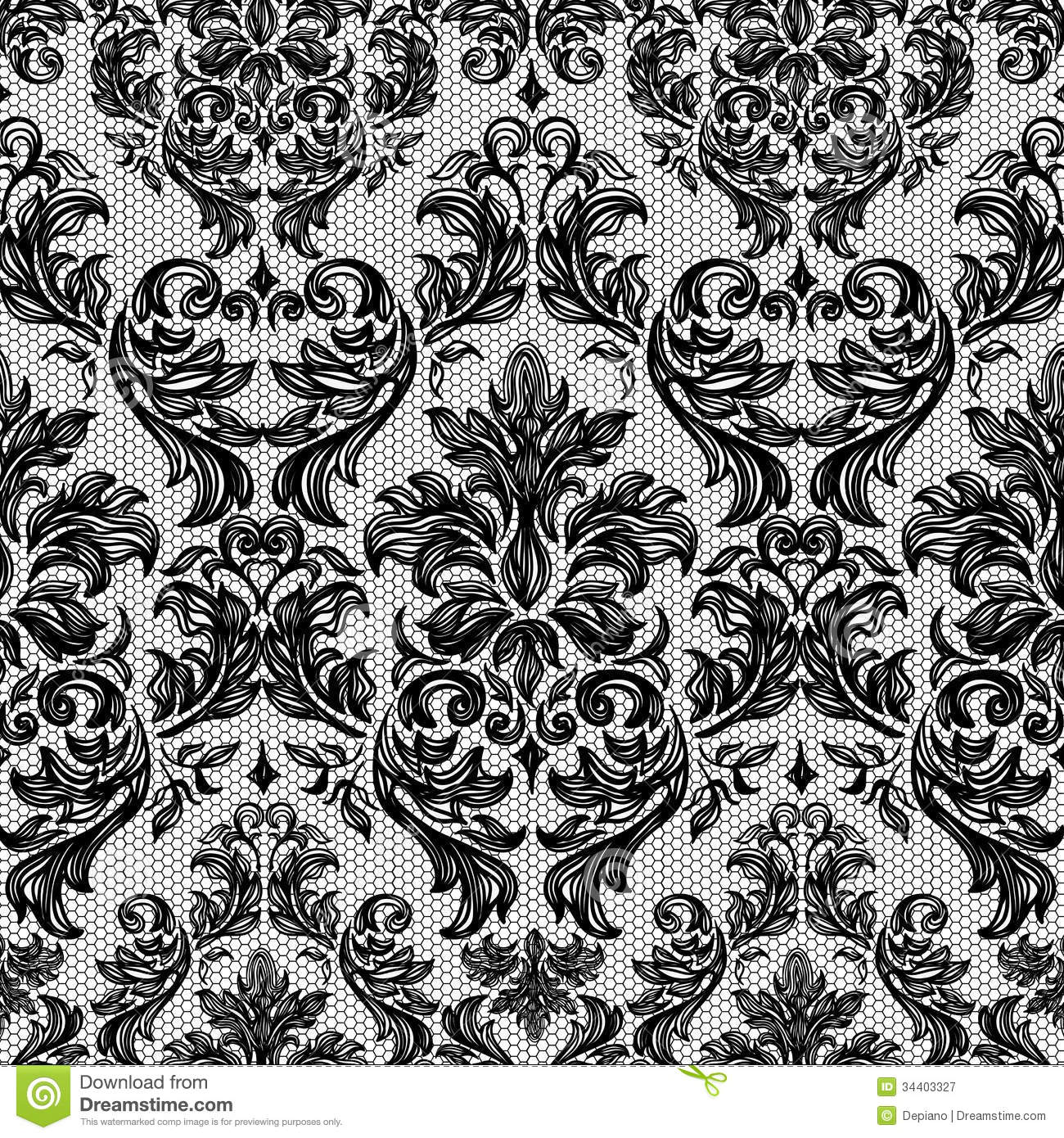 Black Flower Rose From Lace On White Background: Baroque Seamless Vintage Lace Background Stock Vector
