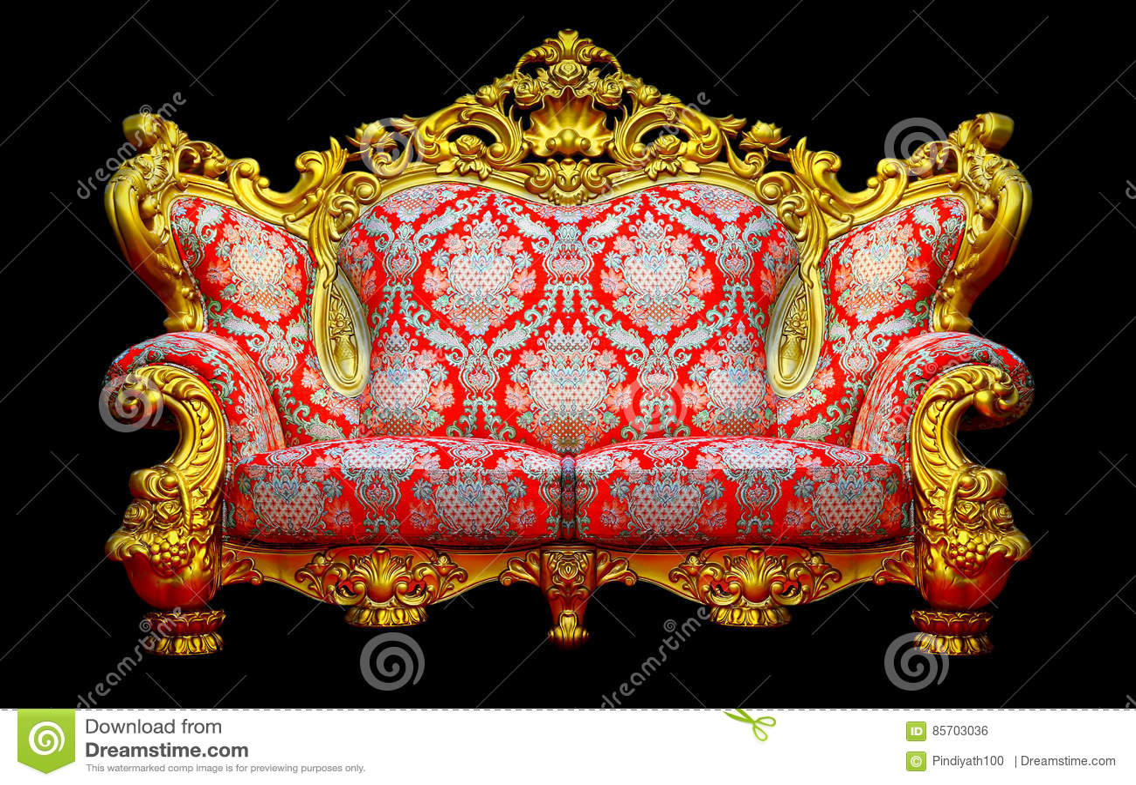 Baroque sofa with golden frame