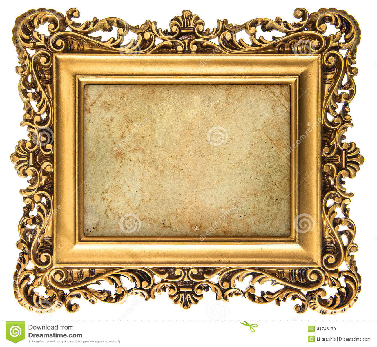 empty baroque frame with canvas for photo and picture stock image