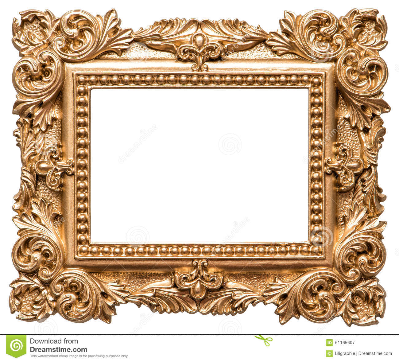 Baroque style golden picture frame vintage art object for Miroir noir baroque