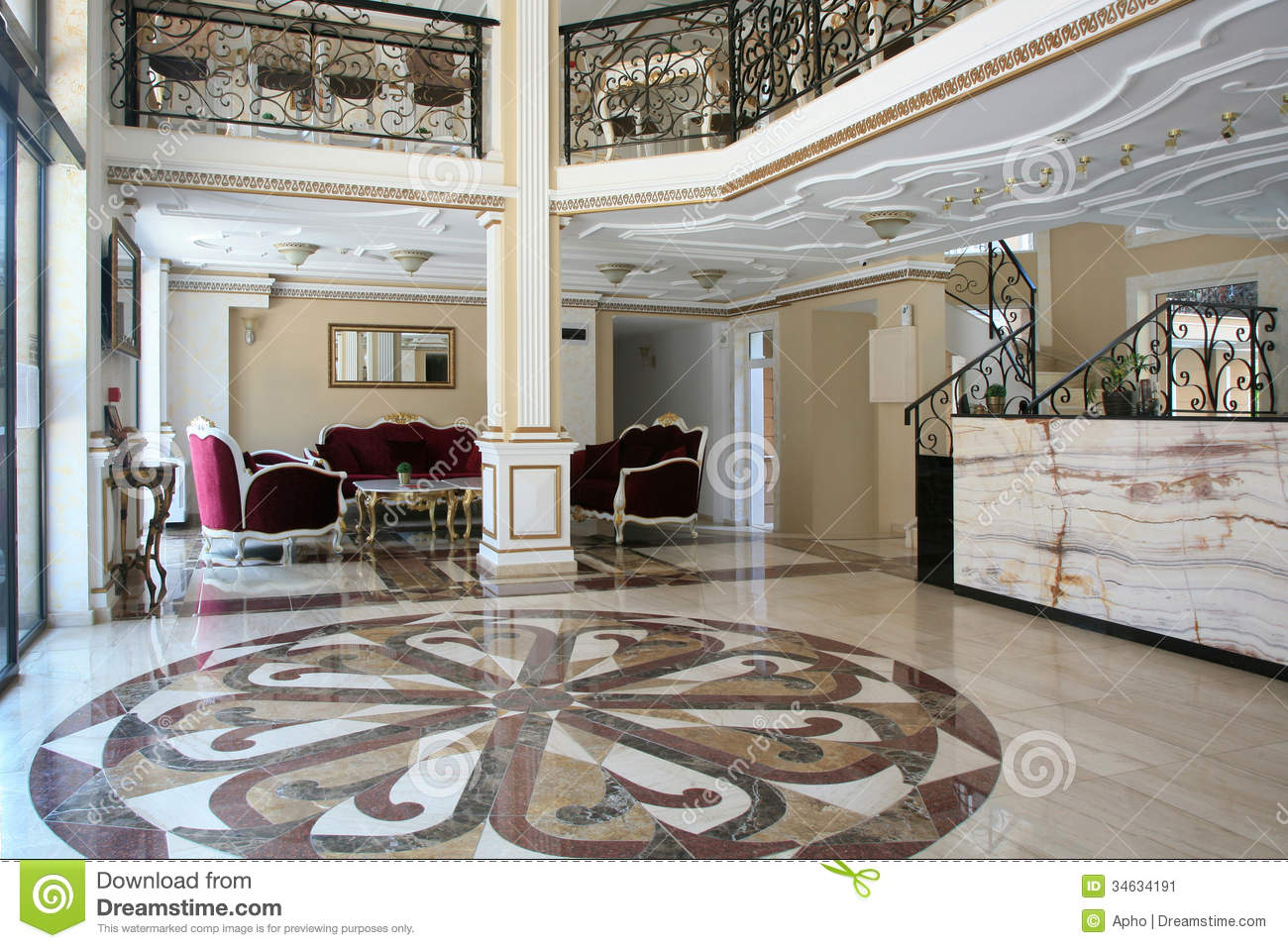 Baroque style hotel interior stock image image 34634191 for Baroque hotel