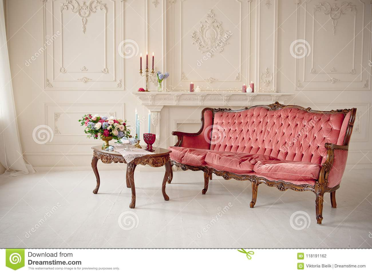 Swell Baroque Style Interior With Red Luxury Sofa And Table Stock Machost Co Dining Chair Design Ideas Machostcouk