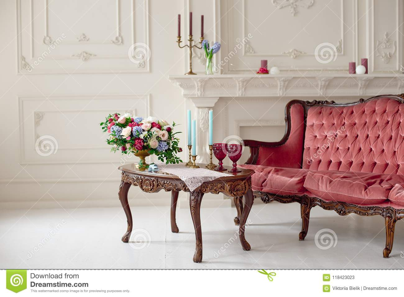 Pleasing Baroque Style Interior With Red Luxury Sofa And Table Stock Machost Co Dining Chair Design Ideas Machostcouk