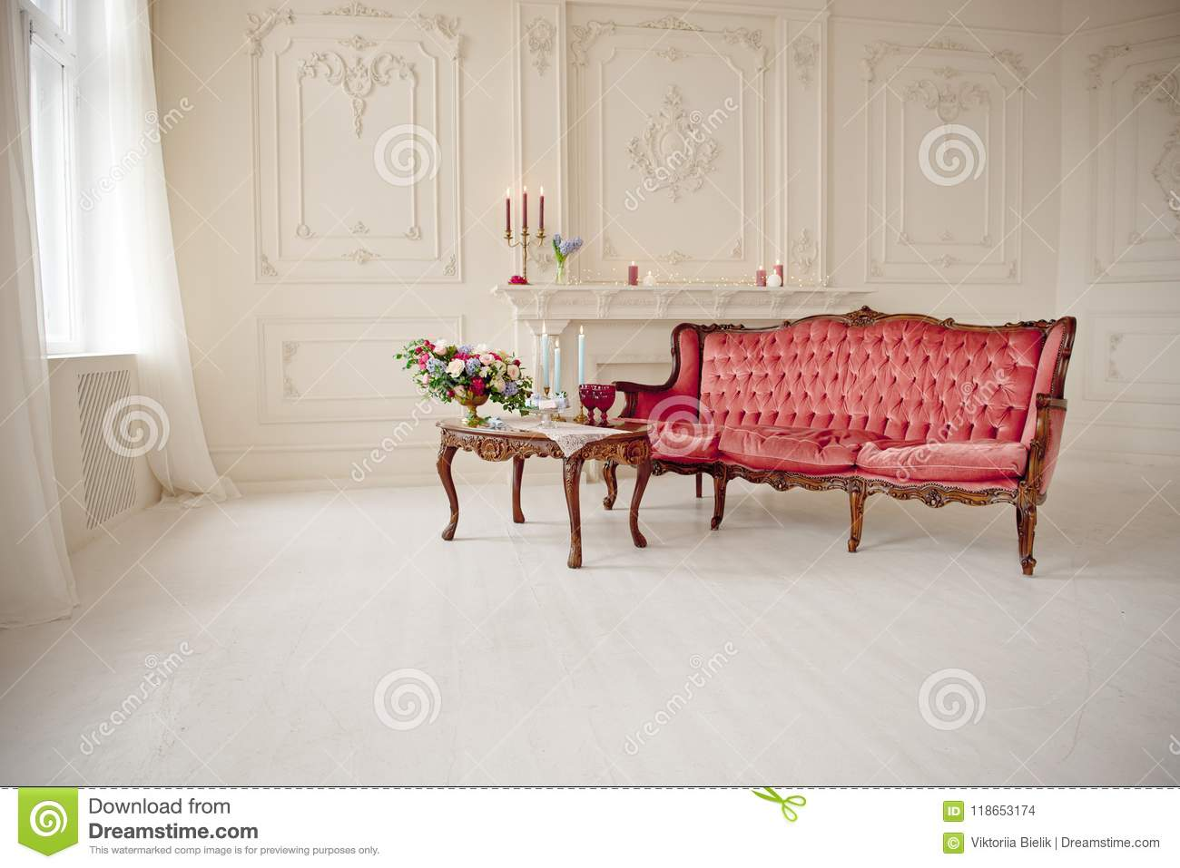 Amazing Baroque Style Interior With Red Luxury Sofa And Table Stock Machost Co Dining Chair Design Ideas Machostcouk