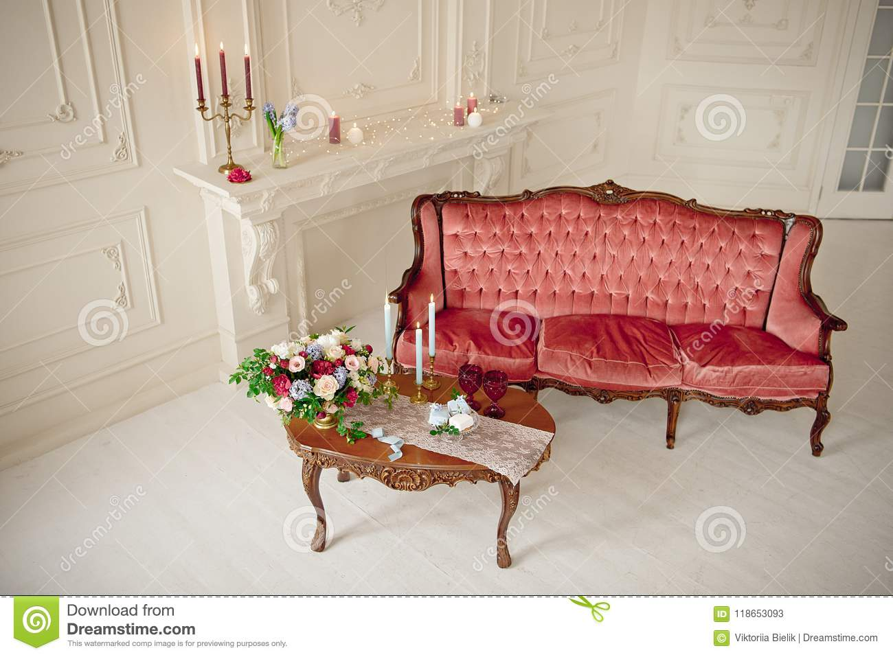 Outstanding Baroque Style Interior With Red Luxury Sofa And Table Stock Machost Co Dining Chair Design Ideas Machostcouk