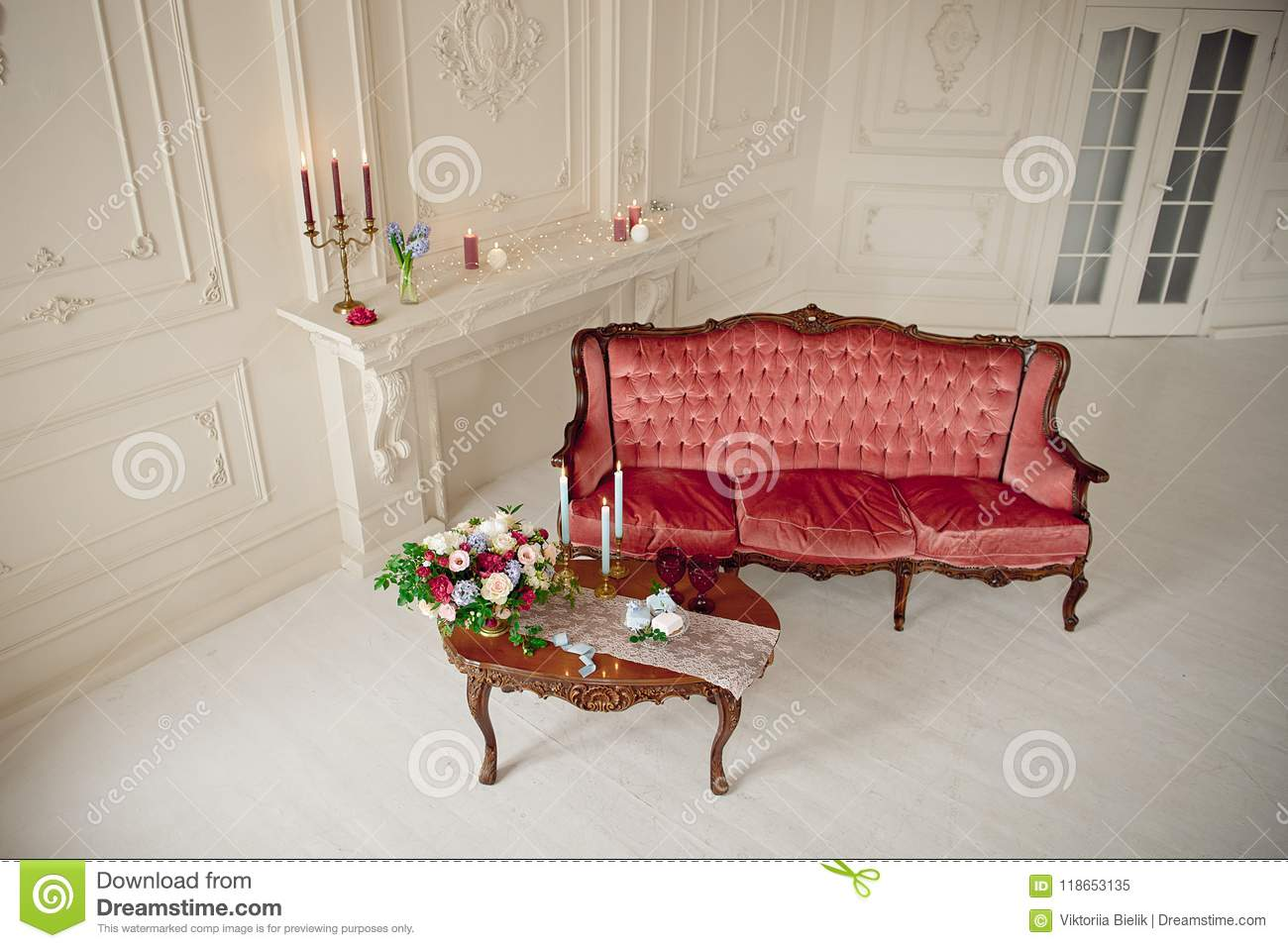 Fine Baroque Style Interior With Red Luxury Sofa And Table Stock Machost Co Dining Chair Design Ideas Machostcouk