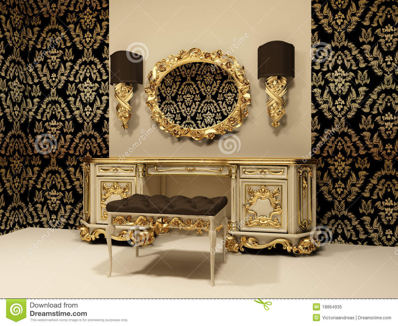 Baroque Table With Mirror On The Wallpaper Backgro Royalty