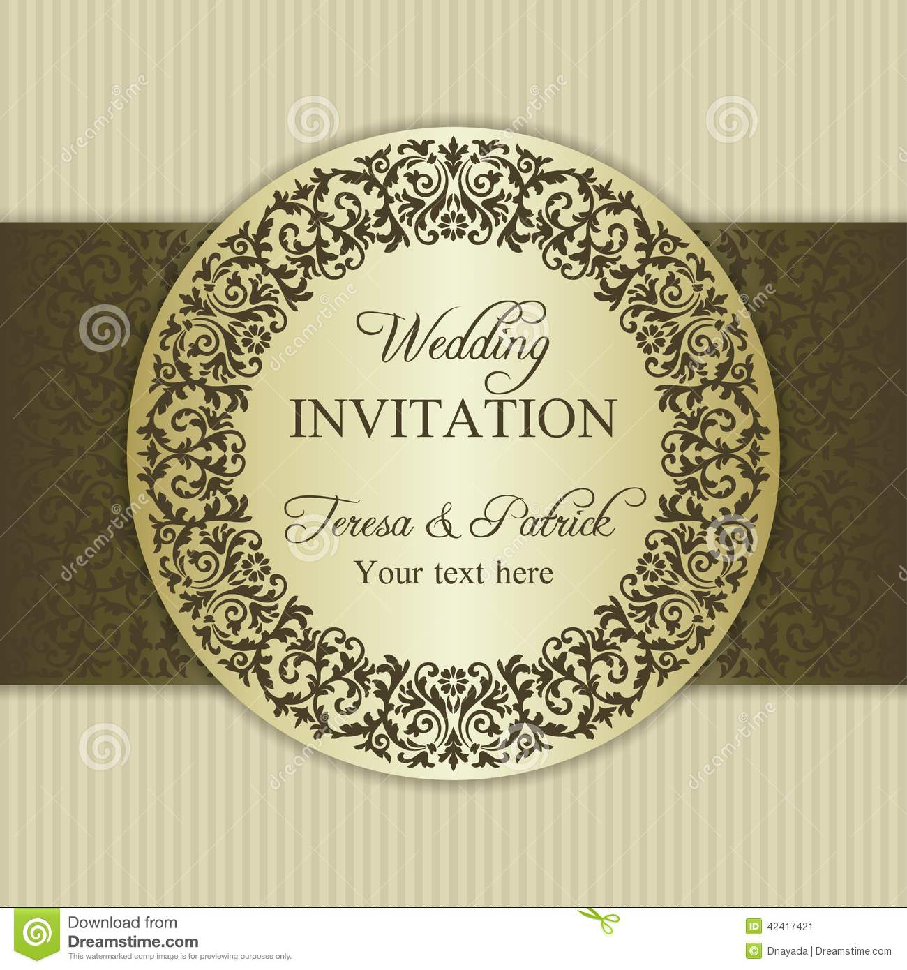 Baroque wedding invitation gold and beige stock vector baroque wedding invitation gold and beige decor flower stopboris Images