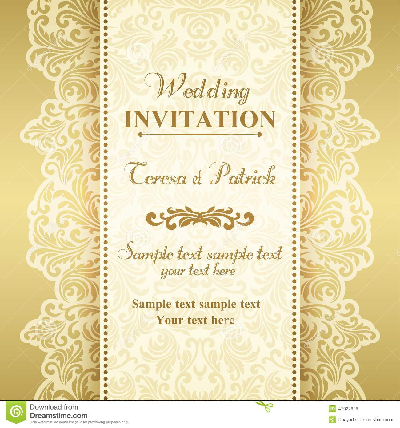 Baroque Wedding Invitation, Gold And Beige Stock Vector ...