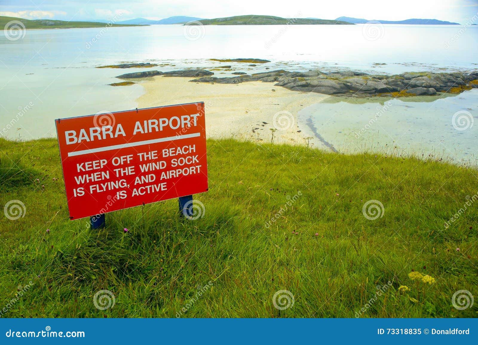 Barra Airort-Zeichen, Barra, Schottland, Großbritannien