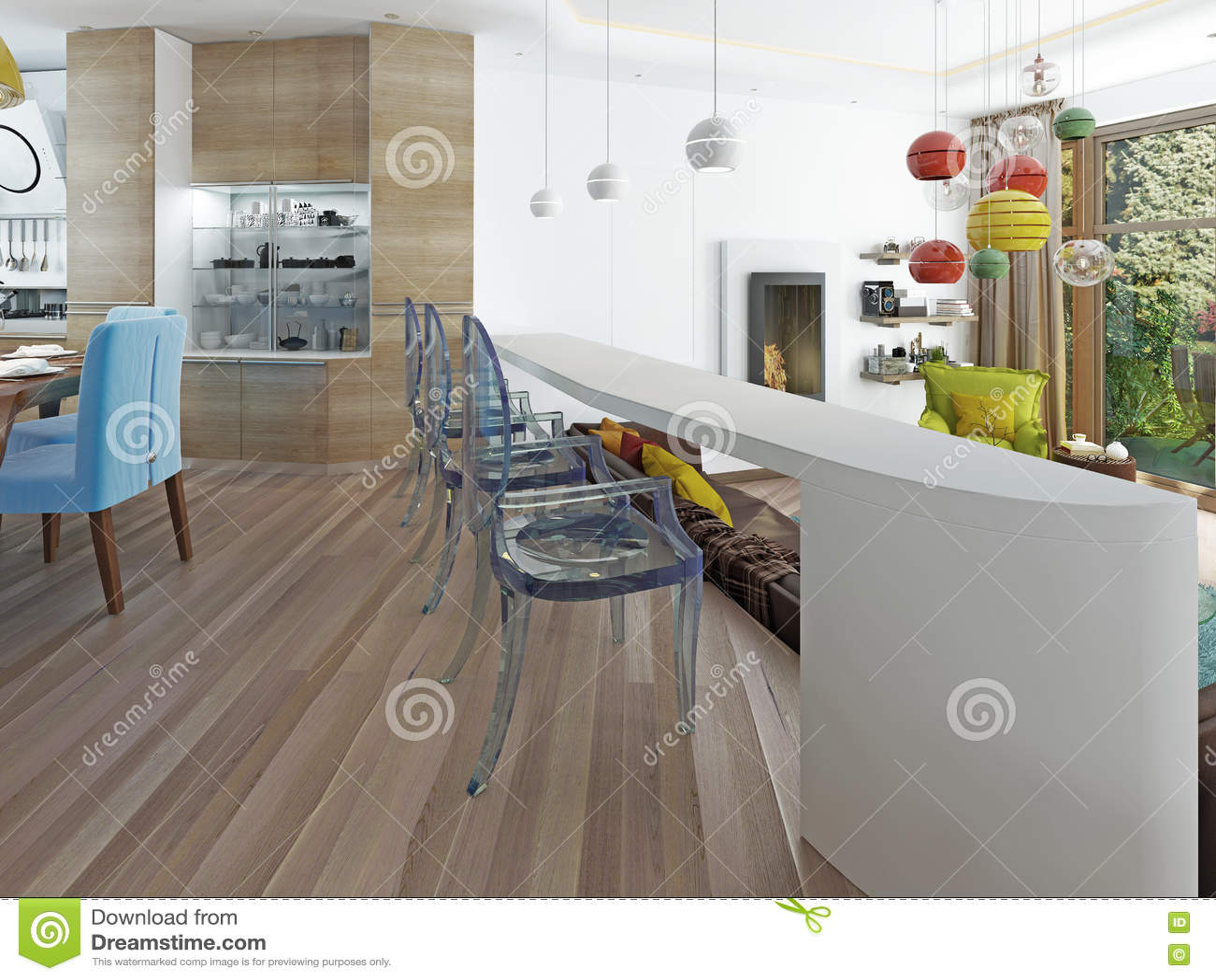 Barra Bianca Moderna Con Tre Sedie Trasparenti Illustrazione