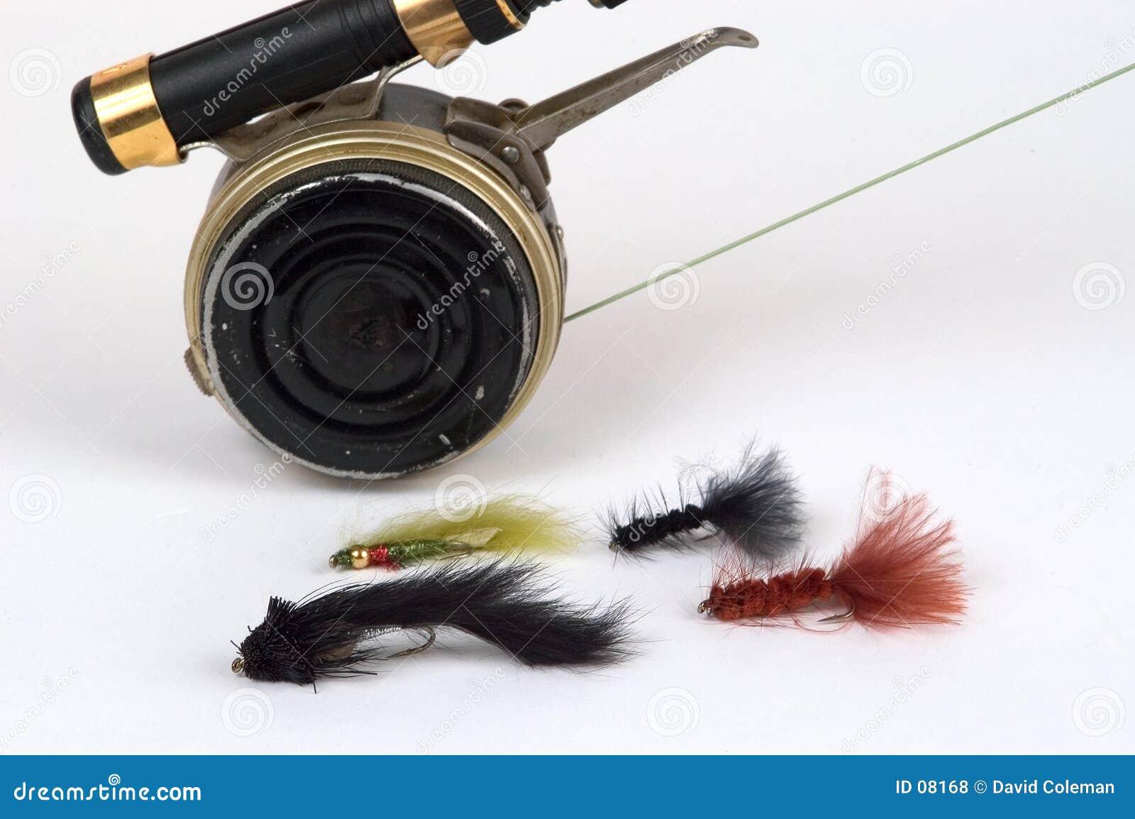 Barra, carrete y moscas de mosca