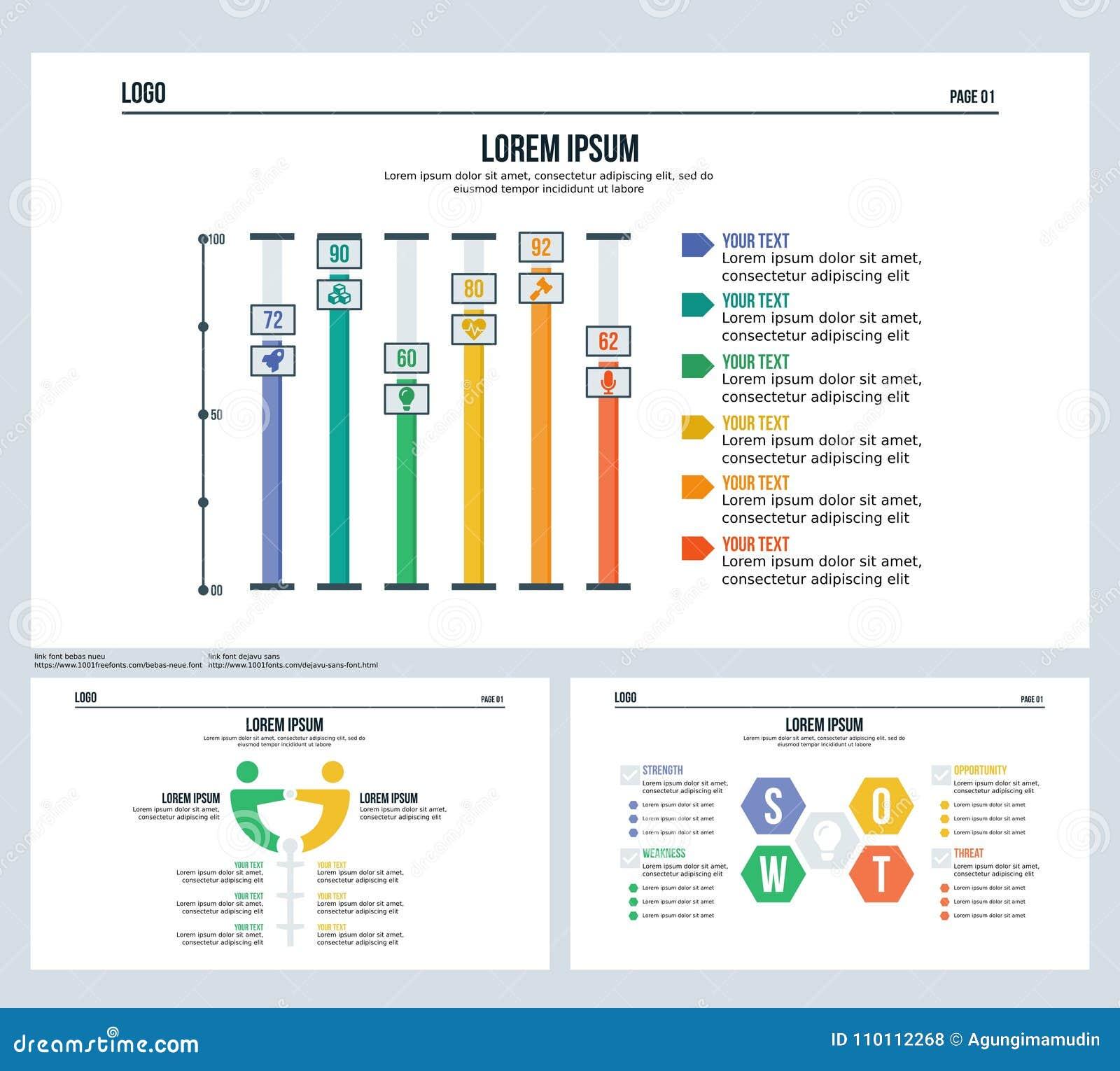 A barra, comparation, swot, ajustou a corrediça da apresentação e o molde de PowerPoint