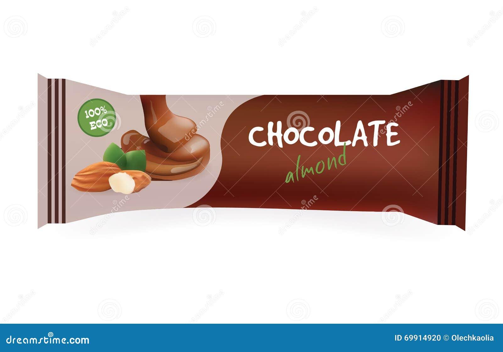 Barra De Chocolate Con La Almendra Maqueta Para Su Diseño Y Marcado ...