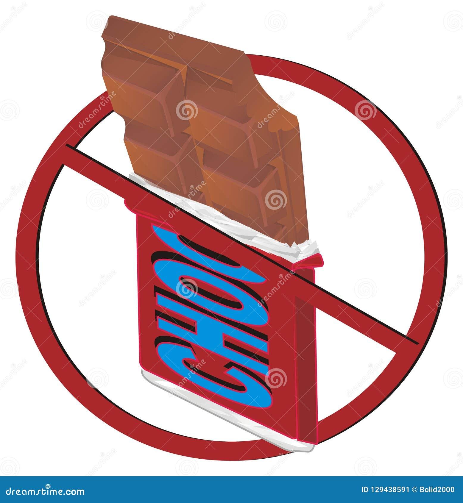 Barra de chocolate na proibição