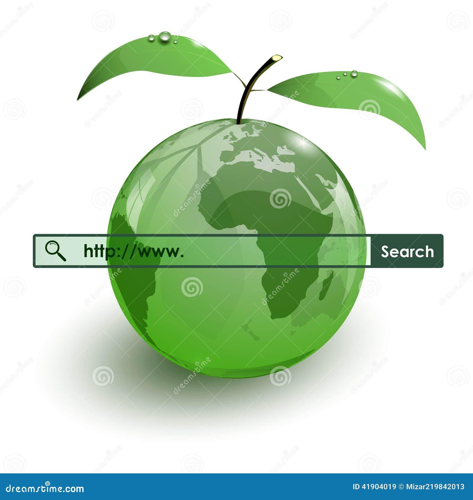 Barra de cristal de WWW del mapa de la tierra de la fruta de la manzana