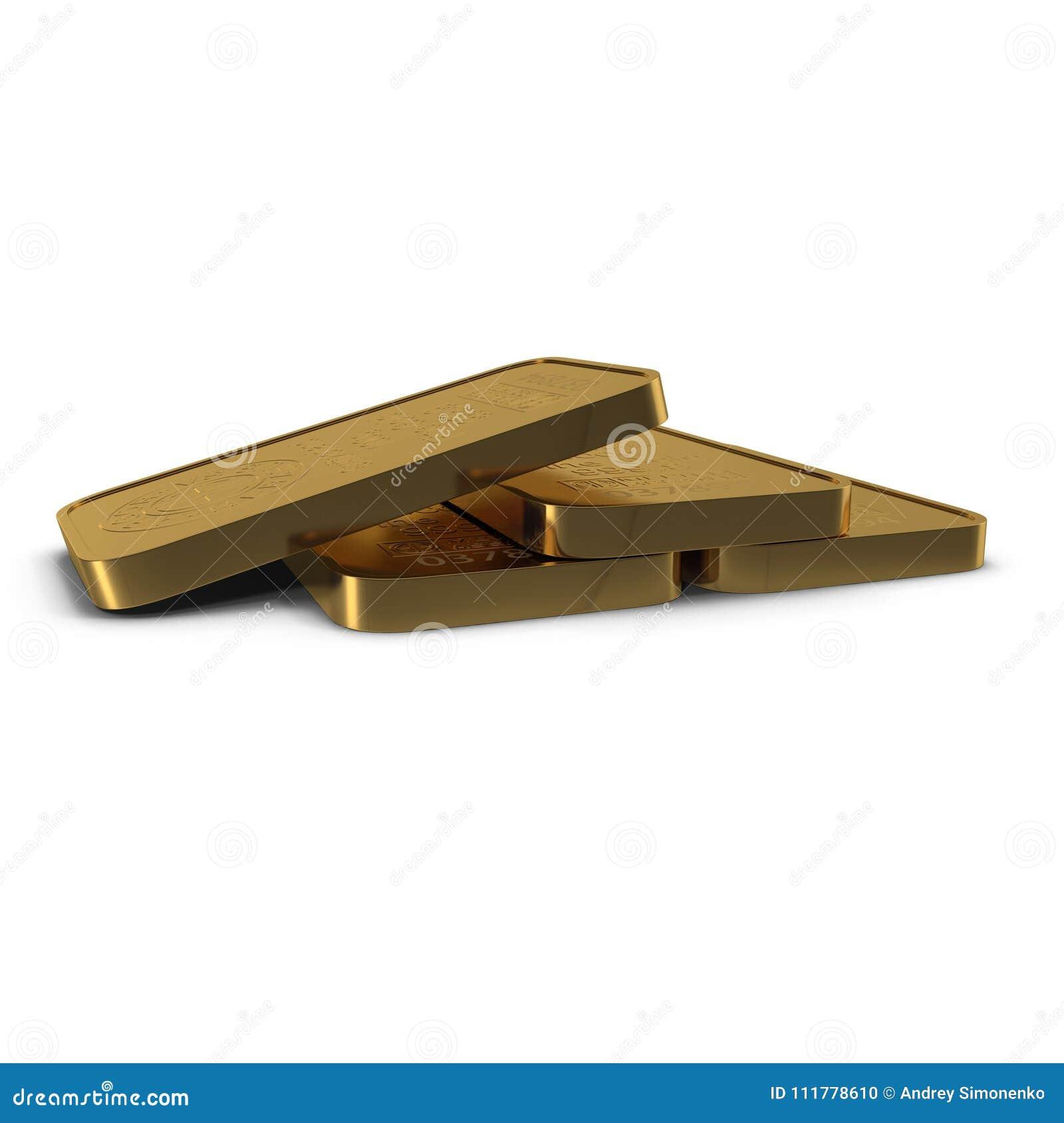 Barra de oro 100g aislada en blanco ilustración 3D